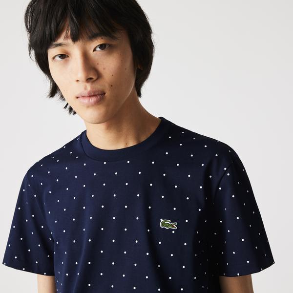 Lacoste Men's Crew Neck Polka Dot Print Cotton T-shirt