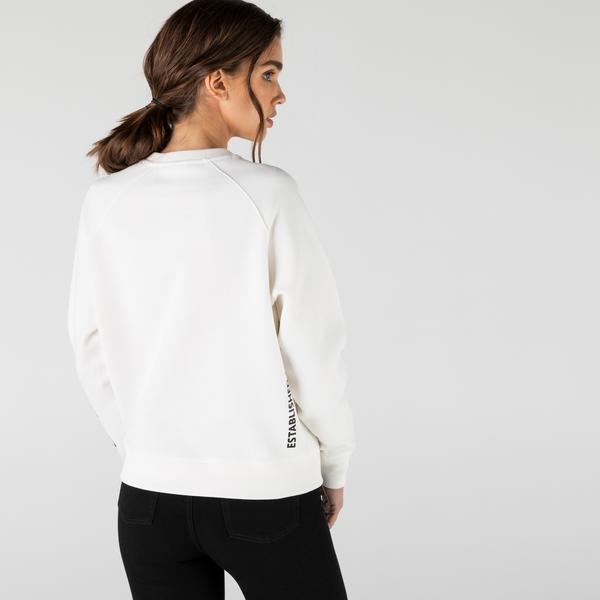 Lacoste Women's LIVE Loose Fit Print Textured Fleece Sweatshirt
