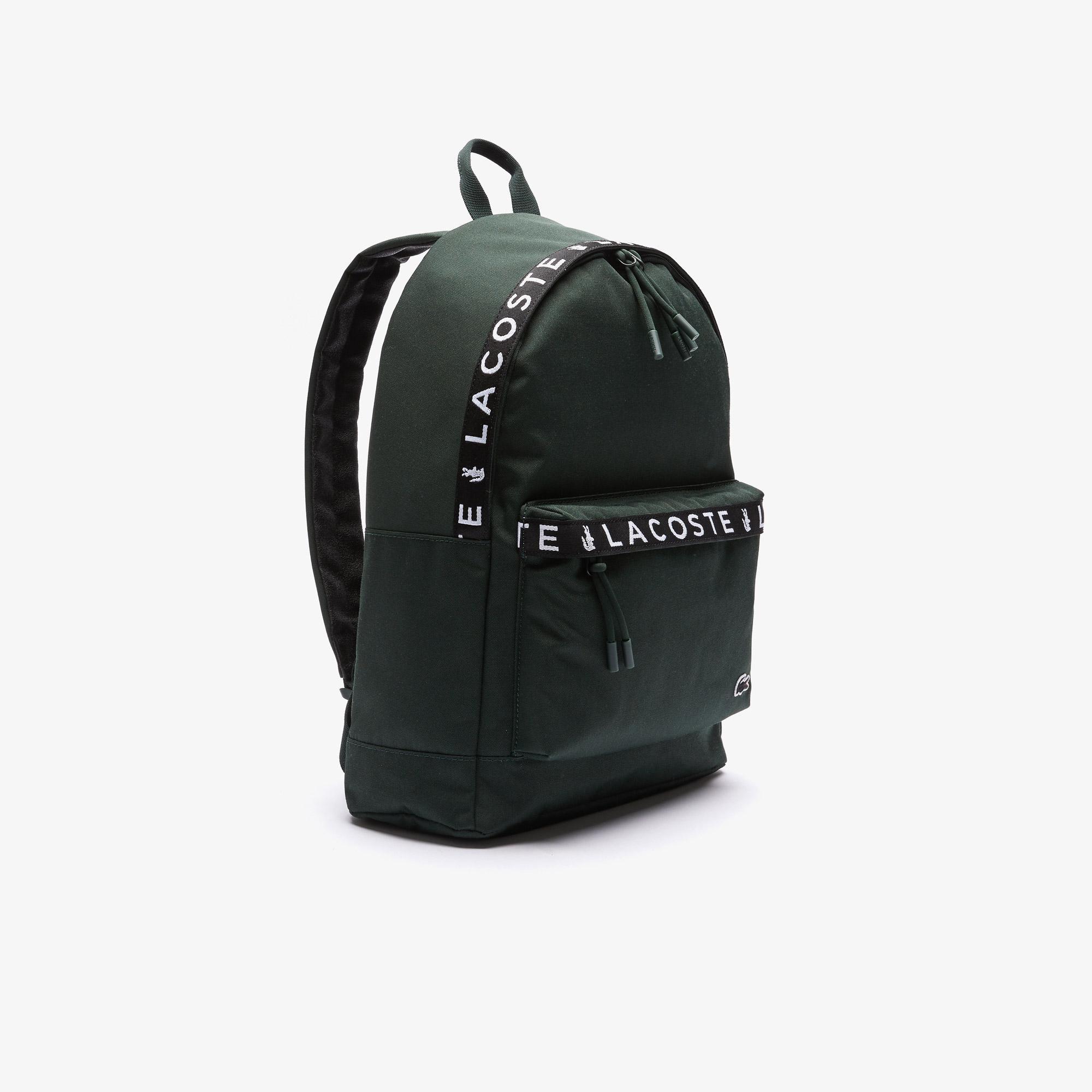 Lacoste Men's Neocroc Lettered Bands Canvas Backpack