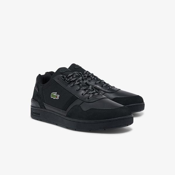 Lacoste Men's T-Clip Leather and Textile Sneakers