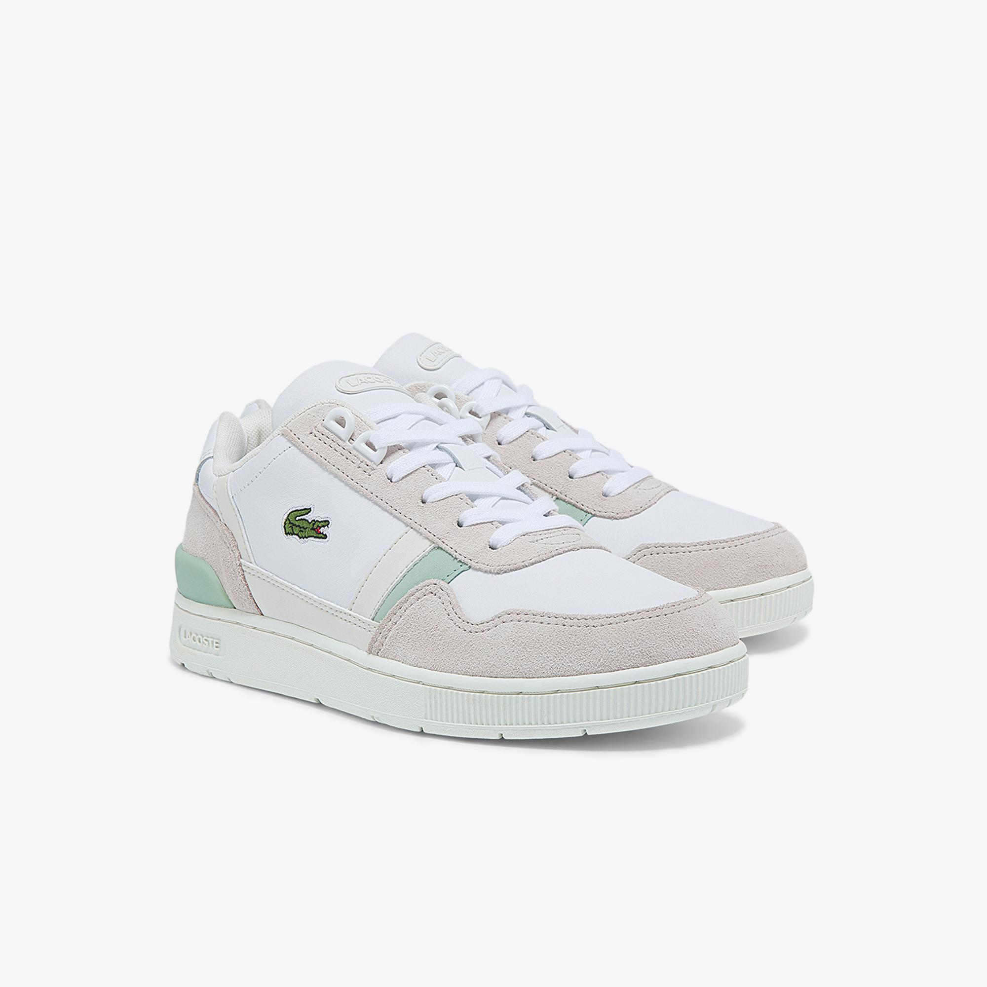Lacoste Women's T-Clip Leather, Suede and Synthetic Sneakers