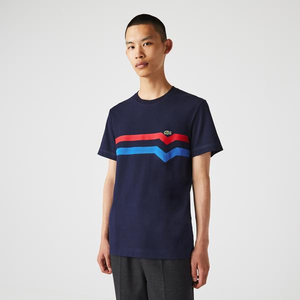 Lacoste Men's Made In France Striped Organic Cotton T-Shirt