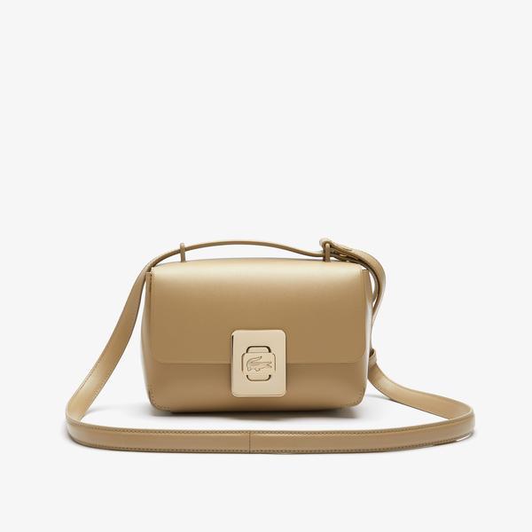 Lacoste Women's Amelia Engraved Metal Clasp Leather Handbag