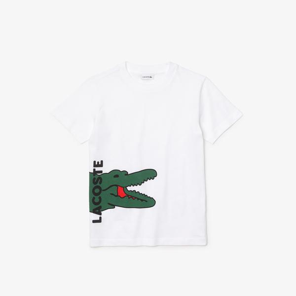 Lacoste Boys' Crew Neck Printed Crocodile Cotton T-shirt