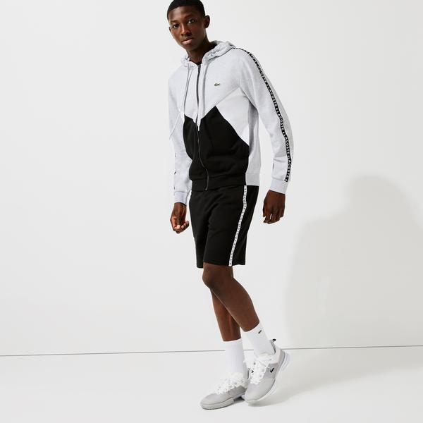 Lacoste Men's Hooded Colorblock Lettered Fleece Zip Sweatshirt