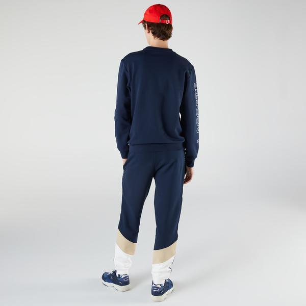 Lacoste Men's Crew Neck Lettered Colorblock Fleece Sweatshirt