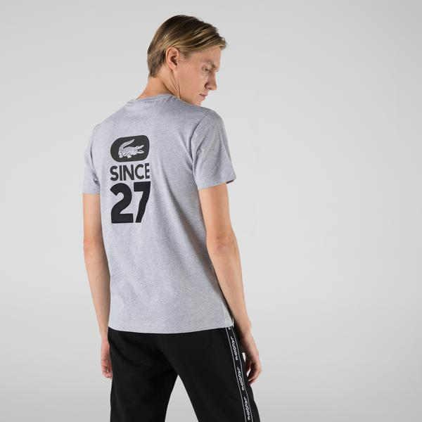 Lacoste Men's Crew Neck Crocodile-Print Cotton T-shirt