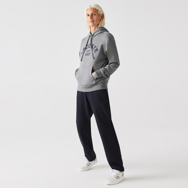 Lacoste Women's Loose Fit Hooded Print Fleece Sweatshirt